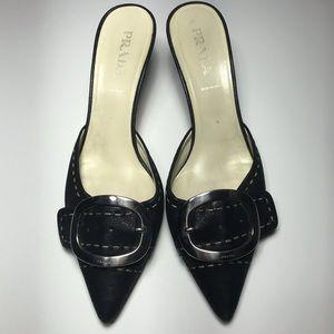 PRADA Vtg Silver Buckle Black Kitten Heels